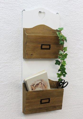 DanDiBo Wandregal Postbox mit Herz Zeitungsständer 12028 Regal 63cm Küchenregal Wand Zeitungshalter im Landhaus Look Vintage Shabby Chic