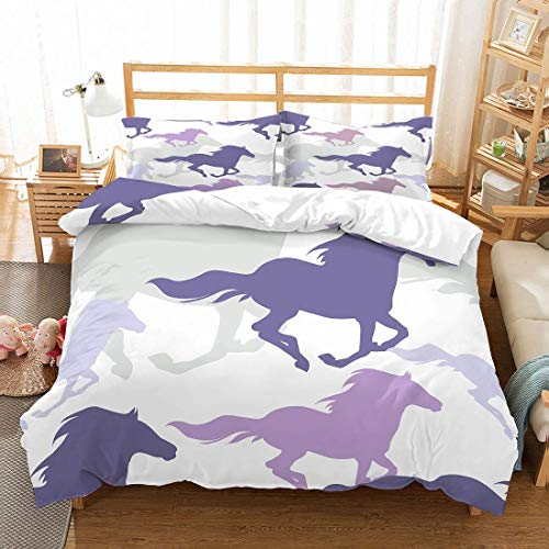 MOUMOUHOME Animal Horse Bedding Set Twin Size 3D Running Purple/Gray Horses Bedspread White Comforter Cover Sets for Kids Teens Adults 2 Pieces 1 Duvet Cover 1 Pillowcase