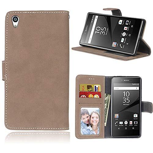 Sangrl Lederhülle Schutzhülle Für Sony Xperia Z5 Premium/Dual / Z5 Plus, PU-Leder Klassisches Design Wallet Handyhülle, Mit Halterungsfunktion Kartenfächer Flip Hülle Beige Yellow