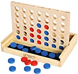 Towo Holz 4 in einer Reihe Spiel-klassisches Strategie-Spiel für Erwachsene Kinder-Connect 4 Discs von gleicher Farbe in einer Reihe-Reisen Spiele Familie Brettspiele Spielzeug Geschenk für 6 Jahre
