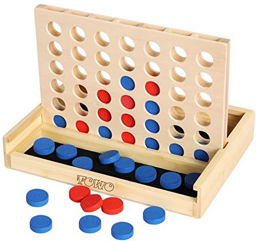 TOWO Gioco Forza 4 in legno - Classico gioco di strategia per adulti bambini - Metti 4 pedine dello stesso colore in fila - Giochi da viaggio Giochi da tavolo per la famiglia Giocattoli Regalo