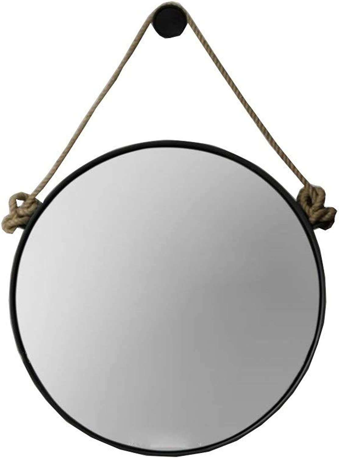 RXY-mirror Nordic Wrought Iron Round Mirror, Retro Industrial Wall Hanging Mirror, Living Room Decoration Hanging Mirror (color   Black, Size   20cm)