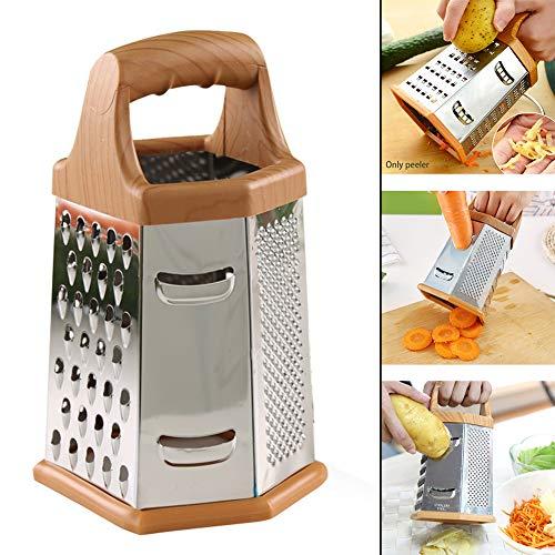 DW007 Reibe Vierseitiges Reibeisen Aus Edelstahl Küchenreibe Zum Groben Und Feinem Raspeln Für Obst Gemüse Karotten Käse Vierkantreibe Spülmaschinengeeignet 20X13cm