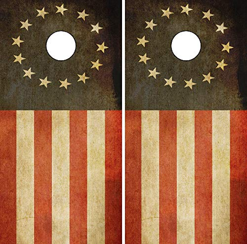 C290 Betsy Ross Distressed American Flag Cornhole WRAP Wraps Laminated Board Boards Decal Set Decals Vinyl Sticker Stickers Bean Bag Game Vinyl Graphic Tint Image