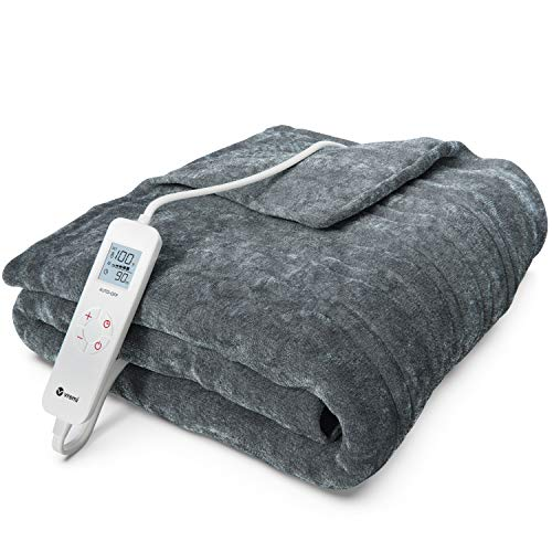 Vremi Electric Blanket - 55 x 63 inches Throw Heated Blanket with 6 Heat and 8 Time Settings - Flannel Fleece Heating Pad with 10 feet Cord, LCD Display Controller, Auto Shut Off, Washable Cover