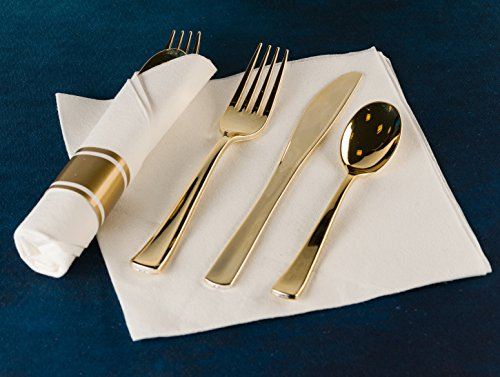 40 Pieces Pre Rolled Cutlery And Napkins Set with Heavy Duty Full Size Polished Gold Cutlery, 10 Forks, 10 Knifes, 10 Spoons, In Rolled Napkins, for Weddings, Parties And Events