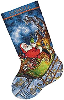 Dimensions Gold Collection Counted Cross Stitch 'Santa's Flight' Personalized Christmas Stocking Kit, 16 Count Grey Aida, 16''