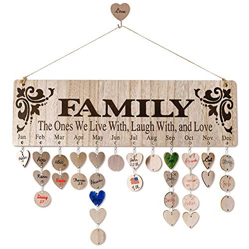 Wooden Family Birthday Calendar Wall Hanging