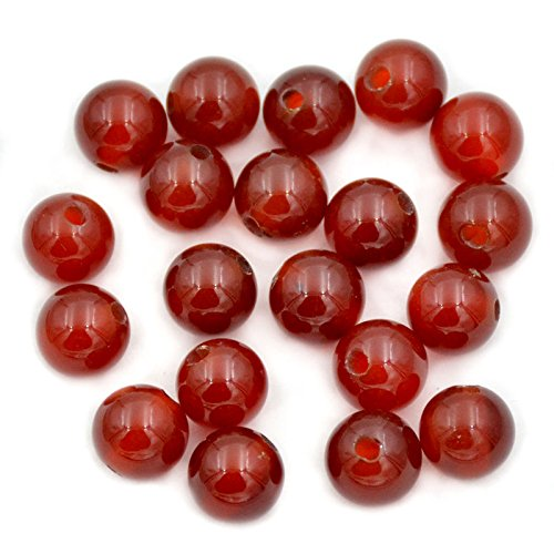 AD Beads Natural Gemstone 10mm Round Loose Beads Big Hole 2mm Sized 30pcs (Red Agate)