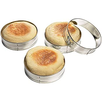 Mousse Ring Cake Mold, Stainless Steel Cake Rings, English Muffin Rings Professional Crumpet Rings set of 4