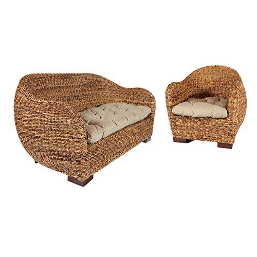 Rotin Design Rattansofa AZUR – Korbsofa – inkl. Sitzpolster – Massivholzfüße – Braun - 3