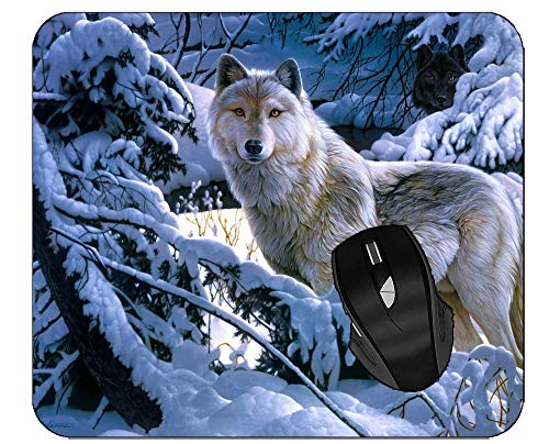 Mouse Pads for Computers Snow White Wolf Winter Forest Wolf Mouse Pad with Stitched Edges