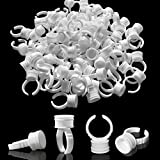 Pigment Rings Finger Cups Disposable Glue Palette Holder Plastic Pigment Ring Adhesive Makeup Rings For Nail Art Eyelash Extension Tool Cups(400Pcs)