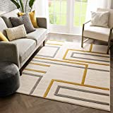 Well Woven Fiora Gold Modern Geometric Stripes & Boxes Pattern Area Rug 8x10 (7'10' x 10'6')