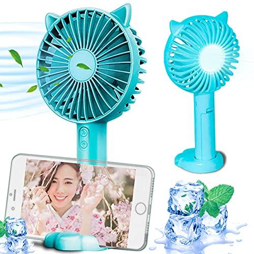 携帯扇風機 静音 小型 【3段階風量調整】手持ち扇風機 卓上扇風機 USB充電式 軽量(ライトブルー)