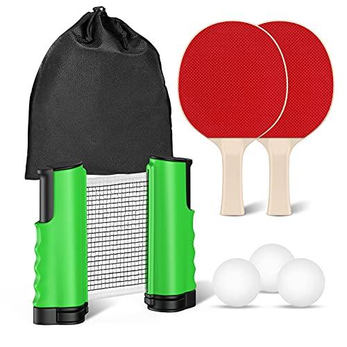 FOOING Juego de Red de Tenis de Mesa, 3 Pelotas de Ping Pong, 1 par de Palas de Tenis de Mesa, Accesorio retráctil instantáneo para Raqueta, Portátil para Interior al Aire Libre Regalo (Verde) ✅