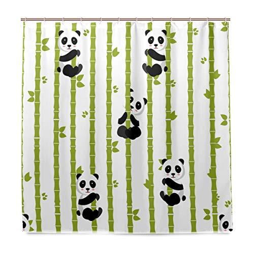 BIGJOKE Duschvorhang, Panda, Tier, Bambus, schimmelresistent, wasserdicht, Polyester, 12 Haken, 183 x 183 cm, Heimdekoration