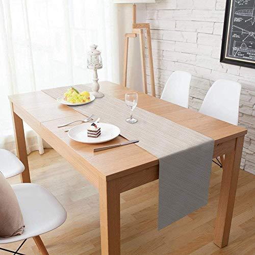 Homcomodar Tischläufer Waschbar Hitzebeständig PVC Läufer Tischläufer für Esstisch 30x135cm(beige)