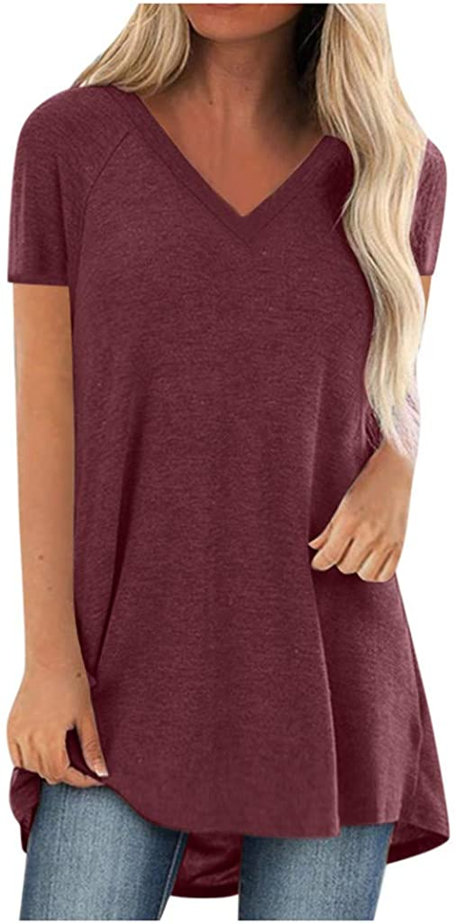 shaozheny Tops for Women Tunic Tops for Leggings Fashion Plus Size Round Neck Short Sleeved Comfy Blouses Tunic Tee