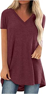 EDC Short Sleeve Tunics for Women to Wear with Leggings Oversized V Neck Solid T Shirt Tops Blouse Tee Plus Size. S-5XL