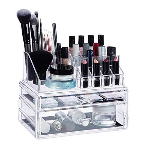 Relaxdays, transparent Make-Up Organizer mit 2 Schubladen, Kosmetik-Aufbewahrung für Schminke, Lippenstifthalter Acryl, Standard
