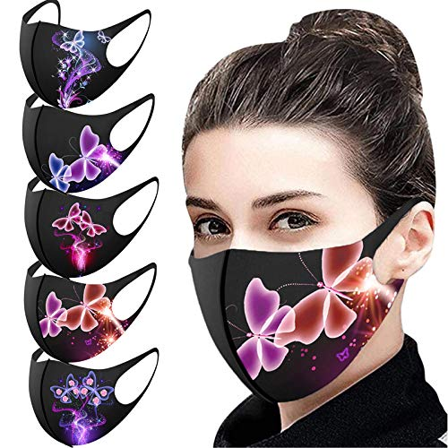 JSPOYOU 5PCS Adult Butterfly Print Mouth for Protection Washable Earloop