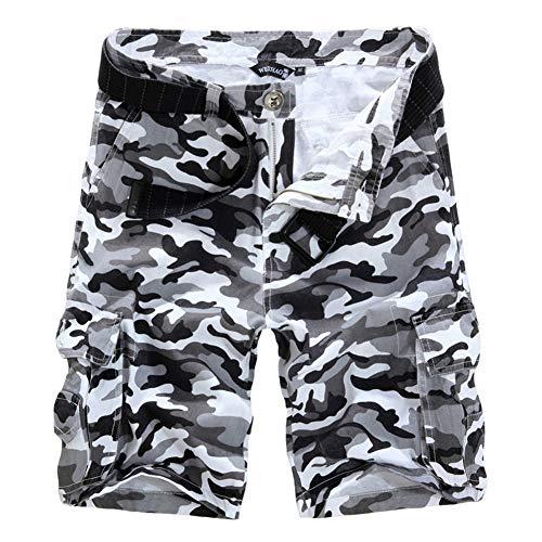 Feidaeu Personnalité Camouflage Pantalon Homme Pantalon Outillage Multi-Poche Lâche Droit Short Durable, Portable et Lavable