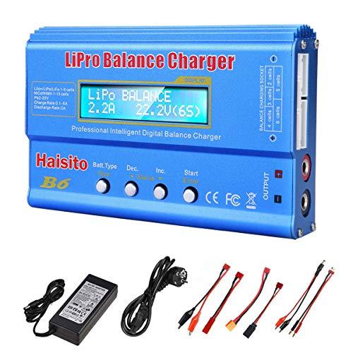 Haisito Cargador de Equilibrio de batería de 80W 6A Lipo Descargador para batería de LiPo/ Li-Ion/ Life (1-6S), NiMH/ NiCd (1-15S), Cargador de Equilibrio de batería RC Hobby con Adaptador de CA