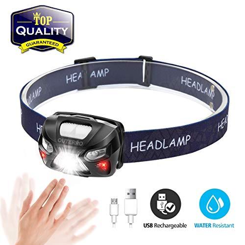 OUTERDO Stirnlampe LED, Mini Kopflampe USB Wiederaufladbar, Sensor Kopfleuchte Warnen- Rotlicht, Wasserdichte Stirnleuchte für Arbeiten Camping Laufen Wandern und Lesen