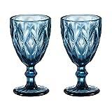 HUHUXIAOWU Copa de Vino, Copa de Cristal Coloreada, 6 oz / 10 oz, diseño Vintage en Relieve, Copa de Cristal Transparente Alta para Fiesta, Boda (Prismático/Azul/Juego de 2, 10oz)