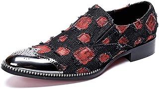 Rui Landed Moda Masculina Oxford Casual Fina Lisa de algodón de Seda Colorida Zapatos con Punta de Metal Formales Discotec...