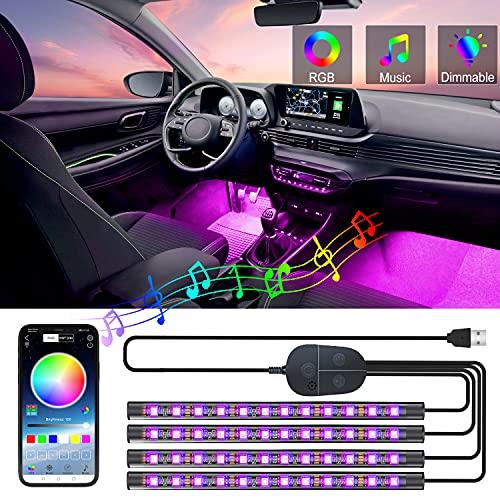 車 led RGB テープライト モバイルAPP制御 USB式 フットランプ 雰囲気ライト 3M両面テープ 車内装飾用 音に反応 防水 全8色に切替 高輝度 足下照明 Bluetooth接続