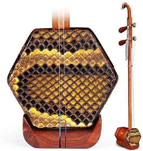 Erhu Musikinstrument, Red Palisander Erhu, Kinder Erwachsene Anfänger spielen Professionelle Universal Instruments, Red Palisander Knochen schnitzte Kupfer Achse (Farbe: Natur) DDLS
