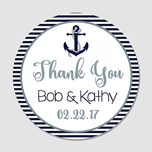 40 Personalized Navy & Gray Nautical Anchor Wedding Favor Label Stickers - Anchor Themed Wedding Favor Tags - Wedding Thank You, Party Favor Stickers