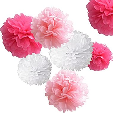 18pcs Tissue Hanging Paper Pom-poms, Hmxpls Flower Ball Wedding Party Outdoor Decoration Premium Tissue Paper Pom Pom Flowers Craft Kit (Pink& White), 8 / 10 / 12
