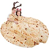 mermaker Burritos Tortilla Blanket 2.0 Double Sided 71 inches for Adult and Kids, Giant Funny Realistic Food Throw Blanket, 285 GSM Novelty Soft Flannel Taco Blanket (Yellow Blanket-14)