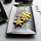 WEI-LUONG Dining Ceramica Nera Plate_Matte Rettangolare Piatto di Ceramica coltelleria Domestica Vassoio Piatto Piatto Piatto di Frutta di Alta Sushi, Nero, di Grandi Dimensioni 35 Centimetri Piastra