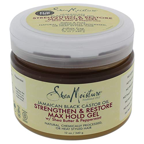 Shea Moisture Jamaican Black Castor Oil Strengthen and Restore Max Hold Gel for Unisex, 12 Ounce