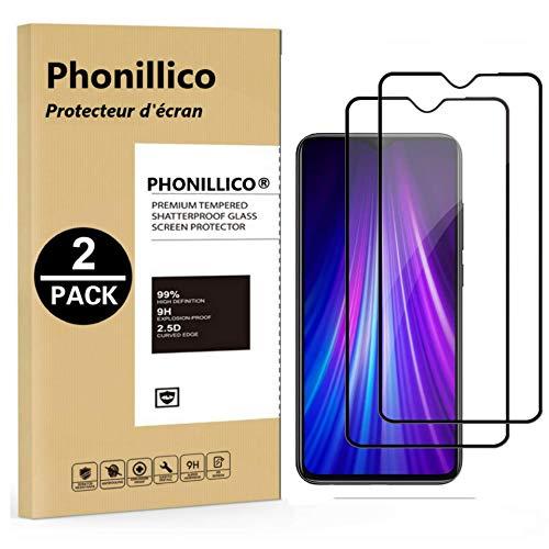 Phonillico 2-delig pak Securitglas rand zwart voor Xiaomi Ridmi Note 8 Pro - displaybeschermfolie 100% gehard glas Resistant (2 stuks] veiligheidsglas krasbestendig