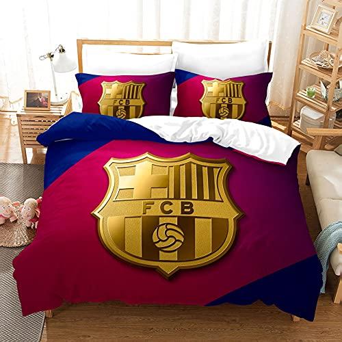 AINYD Lleva el Logo del Barcelona Football Club Muy Suave Transpirable Microfibra Juegos de Fundas para edredon, Funda nórdica con Cremallera(200x200cm), Respirable Almohada