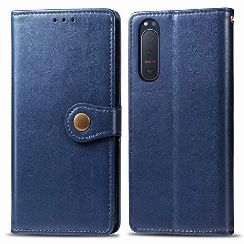 for Sony Xperia 5 II ケース 手帳型 SO-52A ケース 手帳 高級PUレ純色 ストラップ付き 手作り カバー 横開き ケース スタイリッシュ 財布型 薄型 スタン (濃い青)