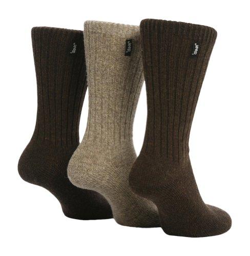 Jeep - 3 Paar Herren Wollsocken Wanderungen & Spaziergänge Socken, 39-45 eur im 2 Farben (Braun)