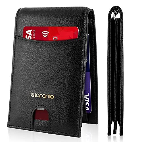 Cartera para Hombre Tarjetero para Hombre T TARANTO Cartera Hombre Anti RFID Puerto 12 Tarjetas de crédito Billetes de Bolsillo Cuero Negro Lychee Caja de Regalo