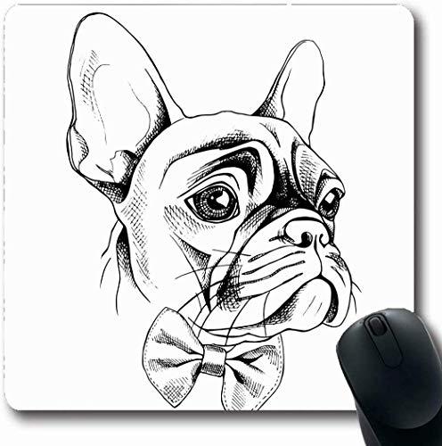 Spiel Mauspad,Büro Mausmatte,Matte Mit Genähten Kanten,Mousepads Für Computer,Grafik Frenchie Französisch Bulldogge Profil Krawatte Wildlife Kleid Hund Gezeichnete Hand Bowtie Bow Design Kopf Gaming