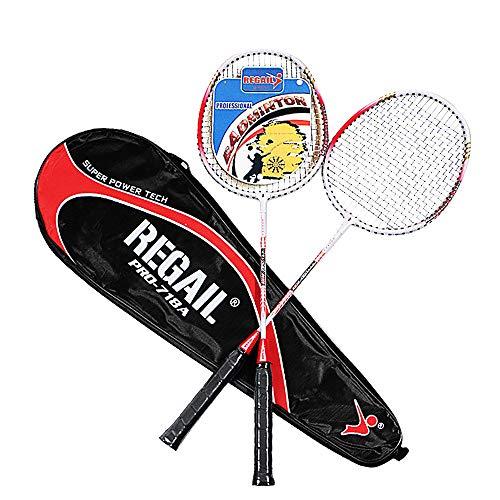 YYDM 1 Paar Badmintonschläger - Tragbares Outdoor Sports Badminton/Durable Anfänger Schläger Mit 1 Tasche, Für Training Exercise and Family Entertainment,Rot