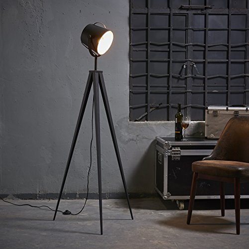 Versanora-Artiste 158cm Metal Retro Tripod Studio Floor Lamp with 3 Adjustable Legs-Black & Gold Finish | Adjustable Cylindrical Shade | All Directions Lighting | For Modern Living Rooms and Bed Rooms