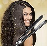Professional Steam Ceramic Hair Straightener Flat Iron,Hair Salon Steam Styler Ionic Steamer 3-in-1,Straightner Curler Flip-up | For Argan Oil Hair Treatment Vapor,250°F-450°F For Dry & Wet (black)