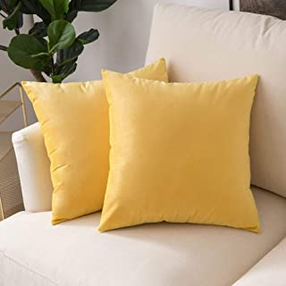 Woaboy Pack of 2 Velvet Throw Pillow Covers Decorative Pillowcases Solid Soft Cushion Covers Pillow Case Square Modern for Couch Living Room Sofa Bedroom Car 20x20 inch 50x50cm Lemon Yellow