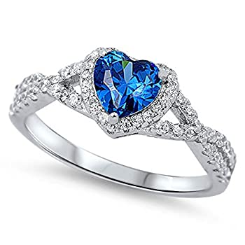 Blue Simulated Sapphire Heart Infinity Knot Promise Ring 925 Sterling Silver Size 9