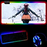 Mouse Pads RGB Gaming Mouse Pad Anime Black Reef Large Led XXL Keyboard Mouse Mat for Gaming and Office 14 Light Modes-30X60X0.4Cm
